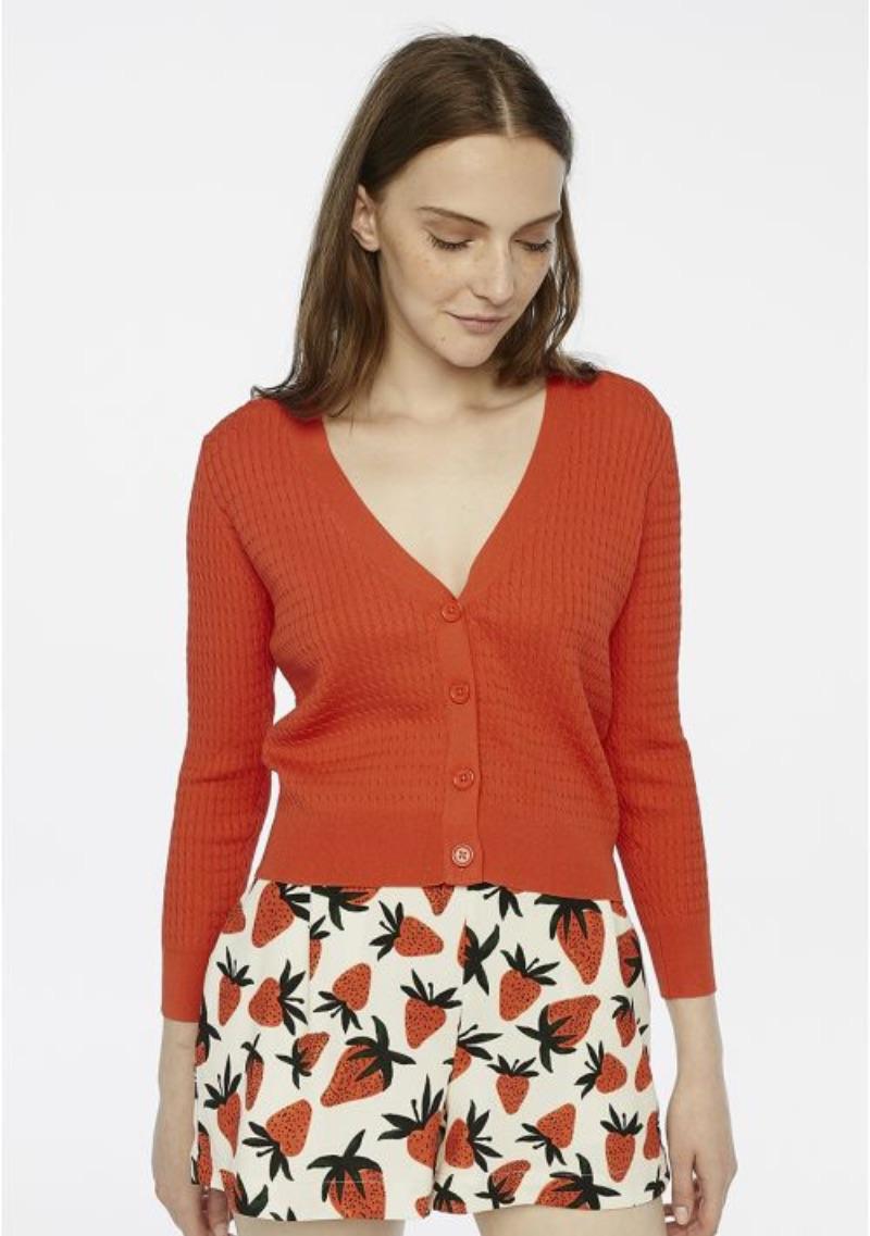 cardigan-rosso-maglia-ad-otto
