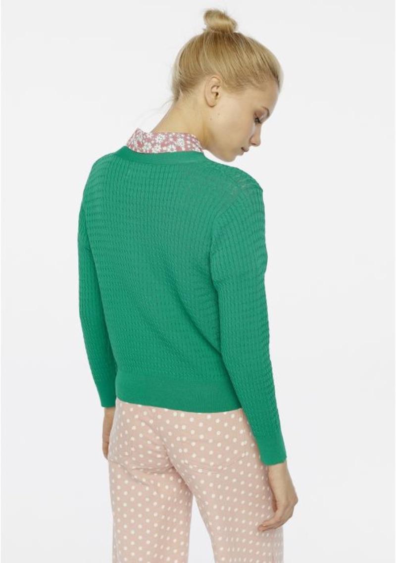 cardigan-in-maglia-verde